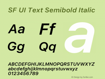 SF UI Text Semibold Italic 11.0d45e1--BETA Font Sample