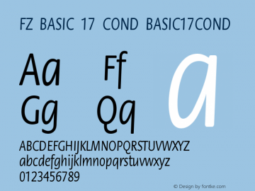 FZ BASIC 17 COND BASIC17COND Version 1.000 Font Sample