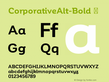 CorporativeAlt-Bold ☞ Version 1.000;PS 001.000;hotconv 1.0.70;makeotf.lib2.5.58329;com.myfonts.easy.latinotype.corporative.alt-bold.wfkit2.version.4pwW Font Sample