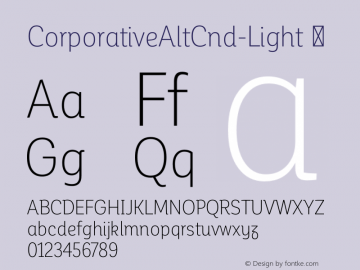 CorporativeAltCnd-Light ☞ Version 1.000;PS 001.000;hotconv 1.0.70;makeotf.lib2.5.58329;com.myfonts.easy.latinotype.corporative.alt-condensed-light.wfkit2.version.4pwL Font Sample