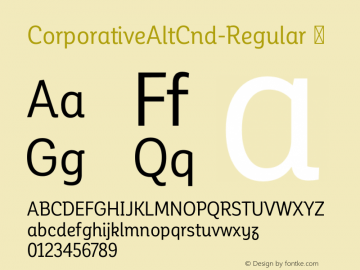CorporativeAltCnd-Regular ☞ Version 1.000;PS 001.000;hotconv 1.0.70;makeotf.lib2.5.58329;com.myfonts.easy.latinotype.corporative.alt-condensed-regular.wfkit2.version.4pwS Font Sample