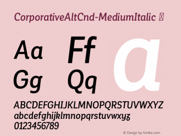 CorporativeAltCnd-MediumItalic ☞ Version 1.000;PS 001.000;hotconv 1.0.70;makeotf.lib2.5.58329;com.myfonts.easy.latinotype.corporative.alt-condensed-medium-italic.wfkit2.version.4px5 Font Sample