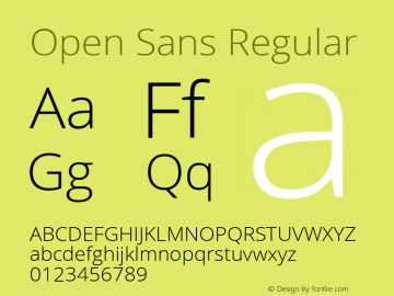 Open Sans Regular Version 1.100;PS 001.100;hotconv 1.0.70;makeotf.lib2.5.58329 Font Sample
