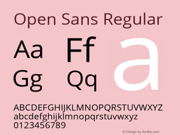 Open Sans Regular Version 1.001;PS 001.001;hotconv 1.0.70;makeotf.lib2.5.58329 Font Sample