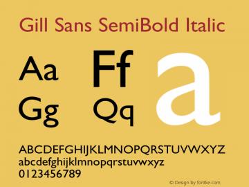 Gill Sans SemiBold Italic 9.0d7e8 Font Sample