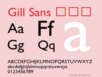 Gill Sans 细斜体 9.0d7e8 Font Sample