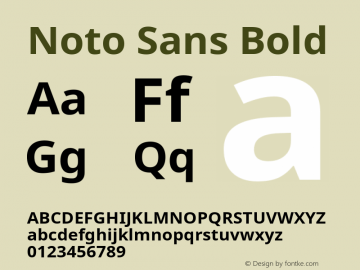 Noto Sans Bold Version 1.05 Font Sample