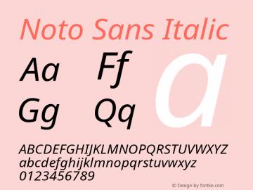 Noto Sans Italic Version 1.05 Font Sample
