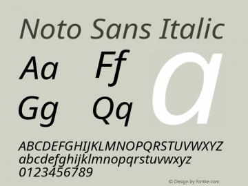 Noto Sans Italic Version 1.05 uh Font Sample