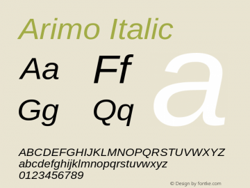 Arimo Italic Version 1.23 Font Sample