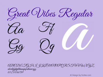 Great Vibes Regular Version 1.001 Font Sample