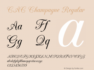 CAC Champagne Regular v1.2 8/28/96 Font Sample
