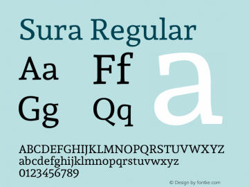 Sura Regular Version 1.002;PS 001.002;hotconv 1.0.70;makeotf.lib2.5.58329图片样张