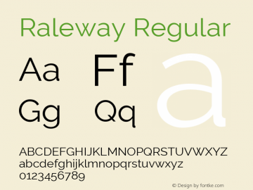 Raleway Regular Version 3.000; ttfautohint (v0.96) -l 8 -r 28 -G 28 -x 14 -w