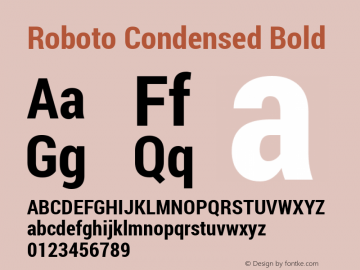 Roboto Condensed Bold Version 1.200311; 2013 Font Sample