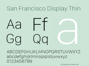 San Francisco Display Thin 10.0d27e2--BETA Font Sample