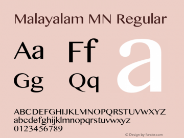 Malayalam MN Regular 10.0d1e1 Font Sample