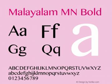 Malayalam MN Bold 10.0d1e1 Font Sample