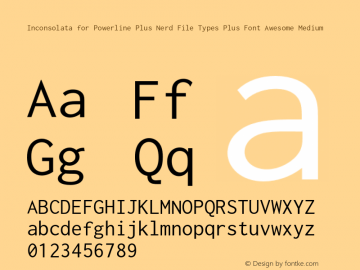 Inconsolata for Powerline Plus Nerd File Types Plus Font Awesome Medium Version 0.4.0图片样张