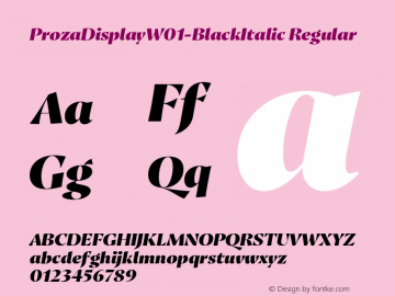 ProzaDisplayW01-BlackItalic Regular Version 2.203 Font Sample