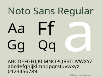 Noto Sans Regular Version 1.05 uh Font Sample