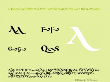 JanaThorkW90-SwashesBold Regular Version 1.00 Font Sample