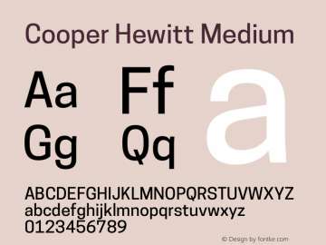 Cooper Hewitt Medium 1.000 Font Sample