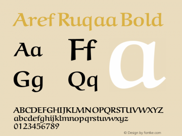 Aref Ruqaa Bold Version 0.2 Font Sample