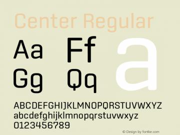 Center Regular Version 1.1 Font Sample