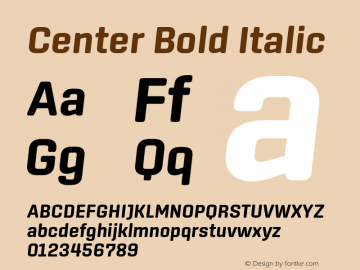 Center Bold Italic Version 1.1 Font Sample