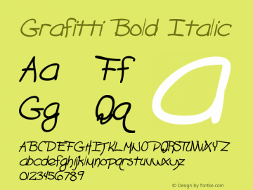 Grafitti Bold Italic The IMSI MasterFonts Collection, tm 1995, 1996 IMSI (International Microcomputer Software Inc.) Font Sample