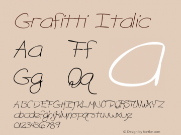 Grafitti Italic The IMSI MasterFonts Collection, tm 1995, 1996 IMSI (International Microcomputer Software Inc.) Font Sample