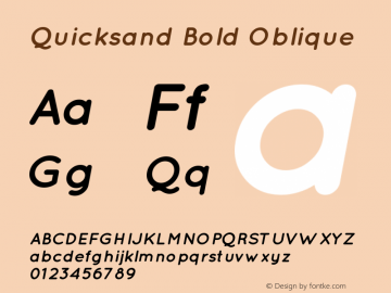 Quicksand Bold Oblique Version 001.001 Font Sample