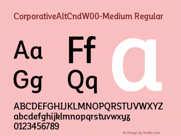 CorporativeAltCndW00-Medium Regular Version 1.00 Font Sample