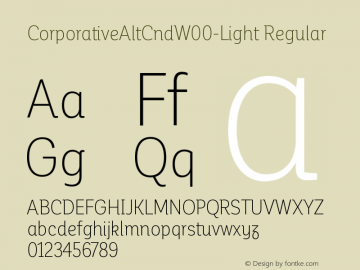 CorporativeAltCndW00-Light Regular Version 1.00 Font Sample