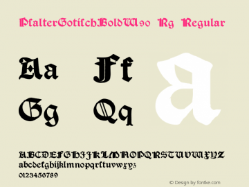 PsalterGotischBoldW90-Rg Regular Version 1.00 Font Sample