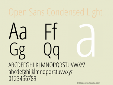 Open Sans Condensed Light Version 1.10 Font Sample