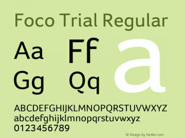 Foco Trial Regular Version 1.101 Font Sample