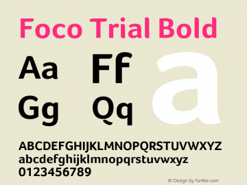 Foco Trial Bold Version 1.101 Font Sample