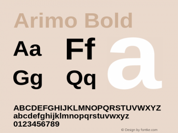 Arimo Bold Version 1.30 Font Sample