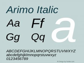 Arimo Italic Version 1.30 Font Sample