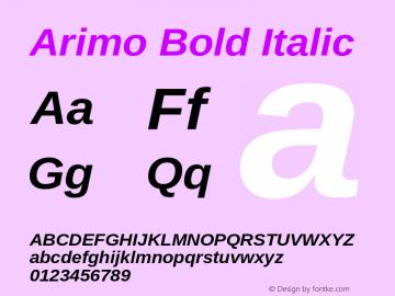 Arimo Bold Italic Version 1.30 Font Sample