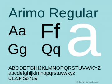 Arimo Regular Version 1.30 Font Sample