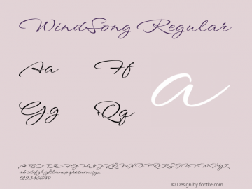 WindSong Regular Version 1.001 Font Sample