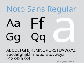 Noto Sans Regular Version 1.06 Font Sample