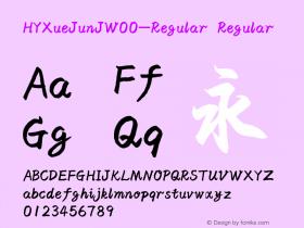 HYXueJunJW00-Regular Regular Version 3.53 Font Sample