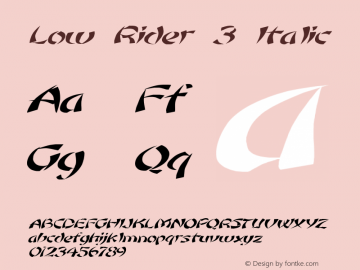 Low Rider 3 Italic 1.0 Tue May 02 09:28:36 1995 Font Sample