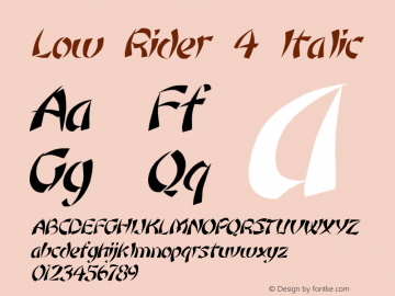 Low Rider 4 Italic 1.0 Tue May 02 09:31:44 1995 Font Sample