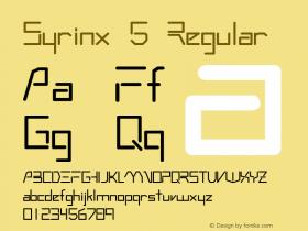 Syrinx 5 Regular QualiType TrueType font  10/6/92 Font Sample