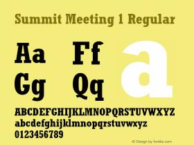 Summit Meeting 1 Regular 001.001 Jan 1992. MacPSWin set 260 chars. Font Sample